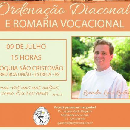 Leandro Ludwig convida para sua ordenação diaconal
